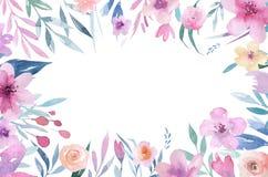 Dé a acuarela aislada dibujo del boho los ramos florales del ejemplo con las hojas, ramas, flores Arte bohemio del verdor Fotos de archivo libres de regalías