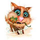 Dé a acuarela exhausta del vector el gato divertido con el ratón del juguete Fotografía de archivo