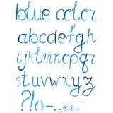 Dé a acuarela exhausta la fuente artística, alfabeto con los signos de puntuación Imagen de archivo