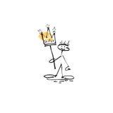 Dé a bosquejo del dibujo la figura humana del palillo de la sonrisa con la corona ilustración del vector