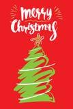 Dé a caligrafía exhausta la tarjeta de felicitación de la Feliz Navidad, illustrati Foto de archivo