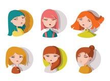 Dé a chicas jóvenes exhaustas las cabezas, aisladas en blanco Muchachas lindas brillantes dibujadas con diverso color del pelo y  Fotografía de archivo libre de regalías
