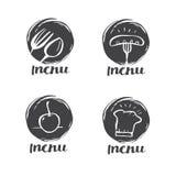 Dé cocinar de la caligrafía, el logotipo de la cocina, el icono y la etiqueta exhaustos Fotos de archivo