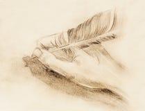 Dé a control una pluma de canilla de la pluma de la letra y del sobre, bosquejo en el papel, efecto del lápiz del vintage ilustración del vector