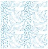 Dé a crustáceos exhaustos del estilo del zentangle el azul inconsútil en el modelo blanco Fotos de archivo libres de regalías