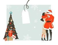 Dé a diversión exhausta del extracto del vector el ejemplo de la historieta del tiempo de la Feliz Navidad con los pares romántic Fotos de archivo