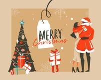Dé a diversión exhausta del extracto del vector el ejemplo de la historieta del tiempo de la Feliz Navidad con los pares romántic Fotos de archivo libres de regalías