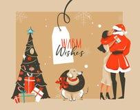 Dé a diversión exhausta del extracto del vector el ejemplo de la historieta del tiempo de la Feliz Navidad con los pares romántic Fotografía de archivo libre de regalías