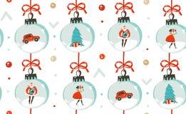 Dé a diversión exhausta del extracto del vector el ejemplo de la historieta del tiempo de la Feliz Navidad modelo inconsútil con  Fotos de archivo