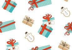 Dé a diversión exhausta del extracto del vector el ejemplo de la historieta del tiempo de la Feliz Navidad modelo inconsútil con  Imágenes de archivo libres de regalías
