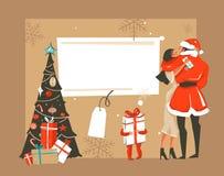 Dé a diversión exhausta del extracto del vector la feliz historieta del tiempo de Navidad tarjeta retra de los ejemplos del vinta Foto de archivo