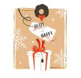 Dé a diversión exhausta del extracto del vector la historieta del tiempo de la Feliz Navidad tarjeta de felicitación retra del ej Imágenes de archivo libres de regalías