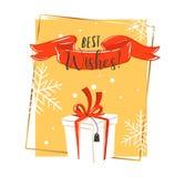 Dé a diversión exhausta del extracto del vector la historieta del tiempo de la Feliz Navidad tarjeta de felicitación retra del ej Fotografía de archivo libre de regalías