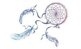 Dé Dreamcatcher adornado exhausto con las plumas, piedras preciosas Wi de la tarjeta Fotografía de archivo libre de regalías