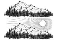Dé a ejemplos exhaustos del vector las montañas con un bosque conífero en ellas y el sol stock de ilustración