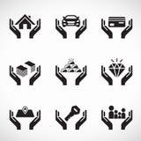 Dé el activo del control y el vector del negocio del icono del seguro diseño determinado stock de ilustración
