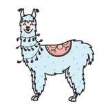 Dé el animal exhausto de Perú, alpaca, vicuña stock de ilustración