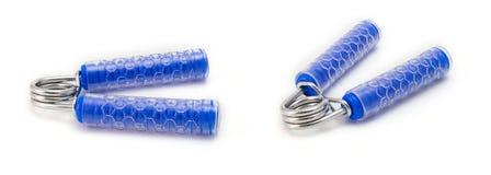 Dé el apretón, ejercicios de la mano aislado en el fondo blanco, Han azul fotografía de archivo libre de regalías