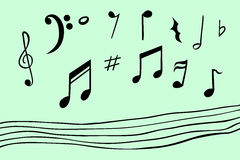Dé el bosquejo del drenaje de la nota musical, con la línea inconsútil Foto de archivo libre de regalías