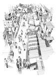 Dé el bosquejo exhausto de la gente que camina en calle de mercado