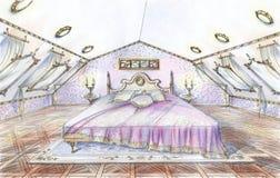 Dé el bosquejo exhausto del dormitorio clásico del estilo Imagen de archivo libre de regalías