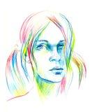 Dé el bosquejo exhausto del lápiz con la cara de una muchacha Retrato femenino Imágenes de archivo libres de regalías