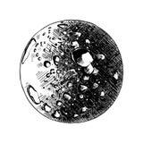 Dé el bosquejo exhausto del planeta de la luna en negro aislado en el fondo blanco Dibujo detallado del estilo de la aguafuerte d ilustración del vector