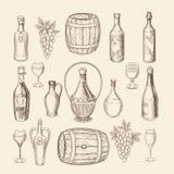 Dé el bosquejo exhausto del viñedo y garabatee los elementos del vector del vino ilustración del vector