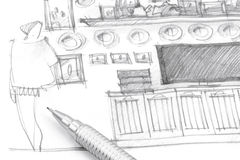 Dé el bosquejo interior de dibujo de la unidad de pared con el lápiz Imagenes de archivo