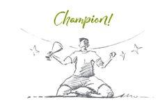 Dé el campeón exhausto que sostiene la taza de la victoria, poniendo letras stock de ilustración