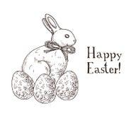 Dé el carte cadeaux blanco y negro exhausto de pascua con el conejo y los huevos del chocolate
