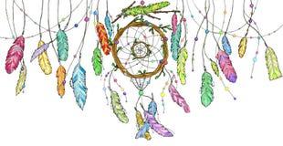 Dé el colector ideal exhausto de ramas de árbol con las plumas Fotos de archivo libres de regalías