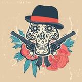 Dé el cráneo exhausto con los armas y las flores en vintage Imagen de archivo libre de regalías