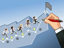 Dé el dibujo de una línea que lleva al concepto del hombre de negocios de la meta stock de ilustración
