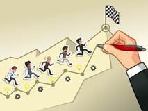 Dé el dibujo de una línea que lleva al concepto del hombre de negocios de la meta libre illustration