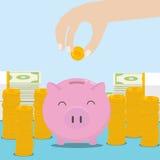Dé el dinero del ahorro en la hucha con las monedas y los billetes del dólar Diseño plano Foto de archivo libre de regalías