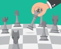 Dé el dinero para invertir con la mano de lanzamiento Ajedrez puesto en tablero de ajedrez libre illustration