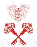 Dé el diseño de letras del vector del dibujo para el día de tarjetas del día de San Valentín Imágenes de archivo libres de regalías