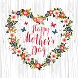 Dé el diseño de tarjeta exhausto con el tex feliz del día de madre puesta letras mano Imágenes de archivo libres de regalías