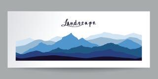 Dé el diseño plano exhausto, paisaje de las montañas con la caligrafía, IL Foto de archivo libre de regalías