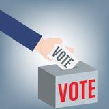 Dé el donante voto de las elecciones políticas de papel en el concepto de la caja del voto, vector del ejemplo en diseño plano Imagenes de archivo