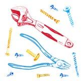 Dé el ejemplo exhausto con la llave ajustable, los tornillos y las apiladoras ilustración del vector