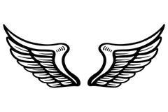 Dé el ejemplo exhausto de las alas del águila aislado en el fondo blanco Diseñe el elemento para el cartel, tarjeta, bandera, mue stock de ilustración