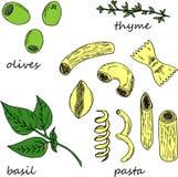 Dé el ejemplo exhausto de los ingredientes de las pastas en estilo de la historieta libre illustration
