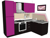 Dé el ejemplo exhausto del interior de la esquina púrpura y marrón brillante de la cocina con construido en el refrigerador aisla Imágenes de archivo libres de regalías