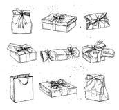 Dé el ejemplo exhausto del vector - cajas de regalo mágicas vendimia libre illustration