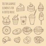 Dé el ejemplo exhausto del vector - colección de chucherías, de dulces, de tortas y de pasteles libre illustration