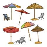 Dé el ejemplo exhausto del vector de los parasoles de playa, aislado en el fondo blanco Foto de archivo libre de regalías