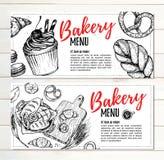 Dé el ejemplo exhausto del vector - folletos promocionales de la panadería Foto de archivo libre de regalías