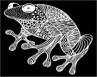 Dé el ejemplo ornamental exhausto de la rana del garabato con los ornamentos del zentangle, stock de ilustración
